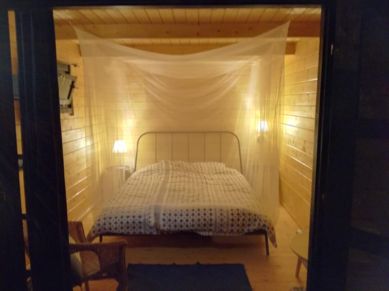bed glamping cabin