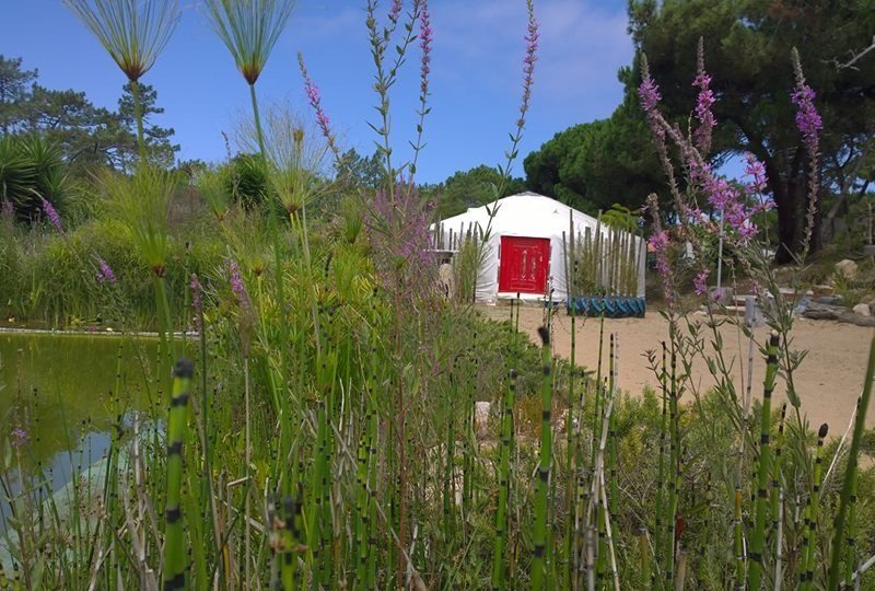 Yurt accommodatie, vijver - Quinta Ecosophia, glamping.nl