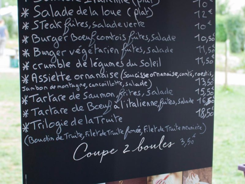 Menu restaurant - Villatent La Roche d'Ully, glamping.nl