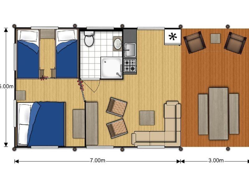 Plattegrond VIllatent luxe met sanitair - Campeggio del Garda, Glamping.nl