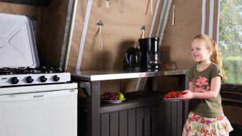 Keuken lodgetent deluxe- De Fruithof, Glamping.nl